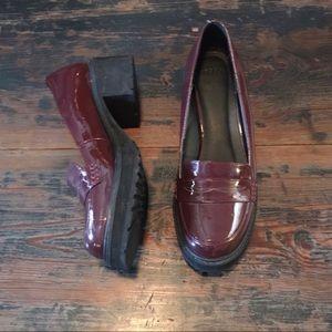 ASOS Oxblood Patent Leather Platform Loafers